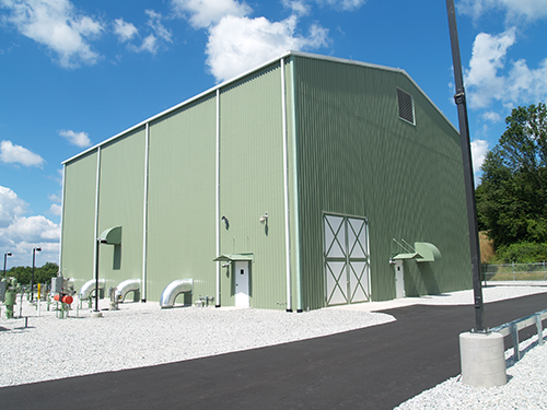 View of the front of the compressor building.
